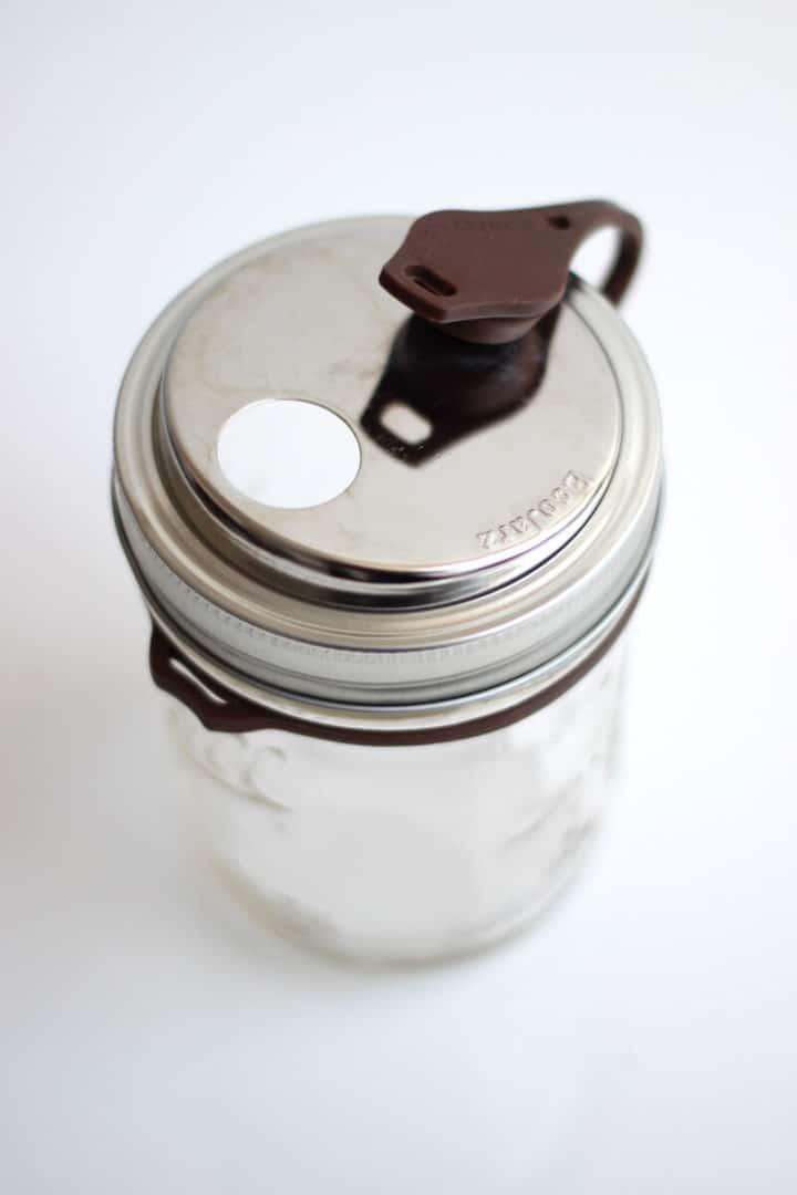EcoJarz PopTop Brown Wide on Jar Opened