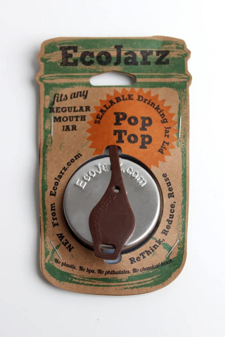 EcoJarz PopTop Regular Kaffee-Silber Lid Deckel für Regular Mouth in Braun