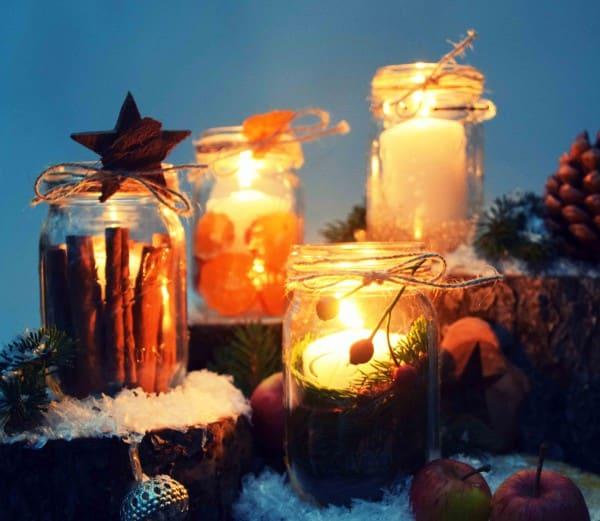 Kerzengläser zu Weihnachten