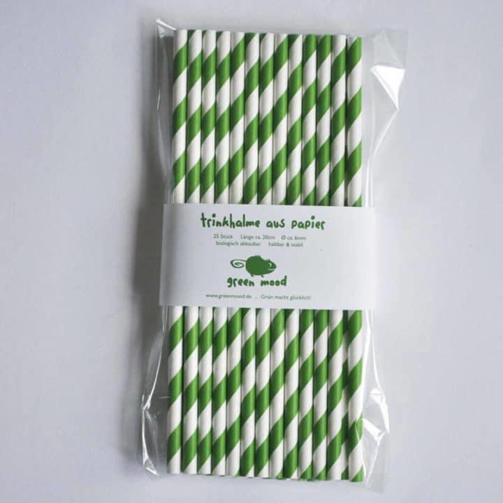 Trinkhalm aus Papier in Grün