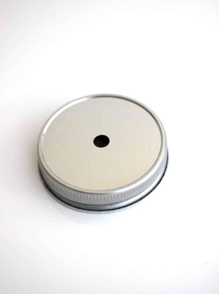Mason Jar Deckel mit Loch in Silber