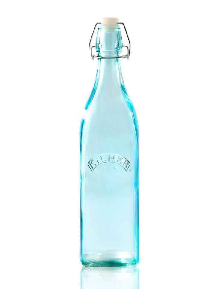 Blaue Glasflasche bunte Wasserflasche Bügelverschluss
