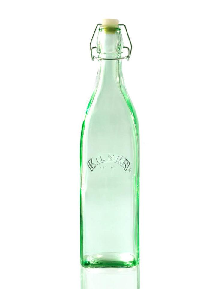 Grüne Glasflasche bunte Wasserflasche Bügelverschluss 1l