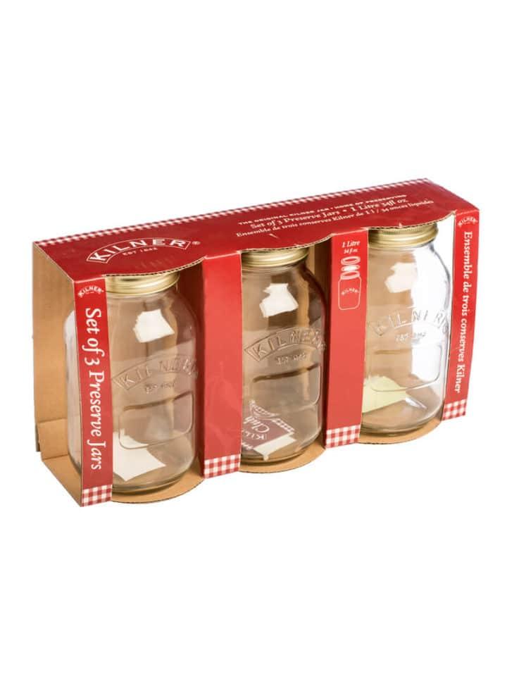 Kilner 3er Set Einmachgläser Mason Jars 1 Liter