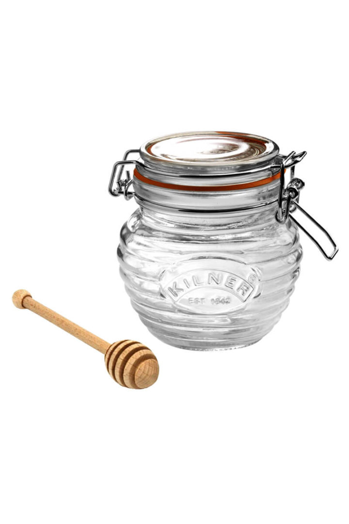 Honig Dipper Glas Honigglas mit Honigloeffel Kilner Jar