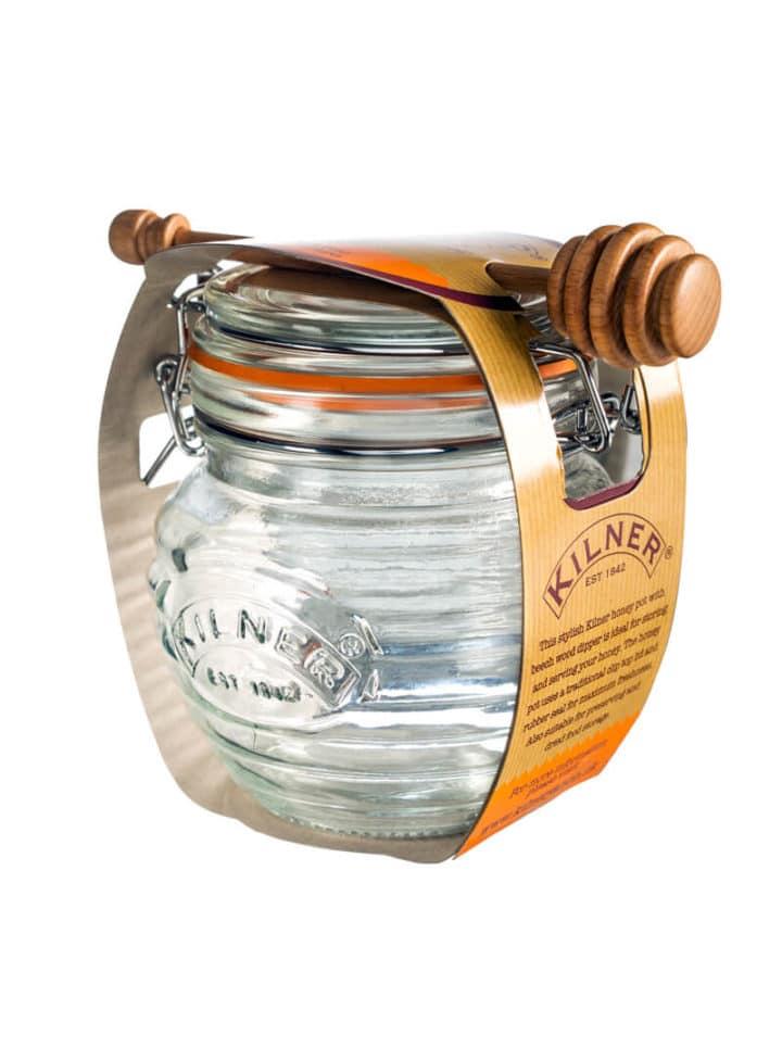 Honigloeffel und Honigglas Set