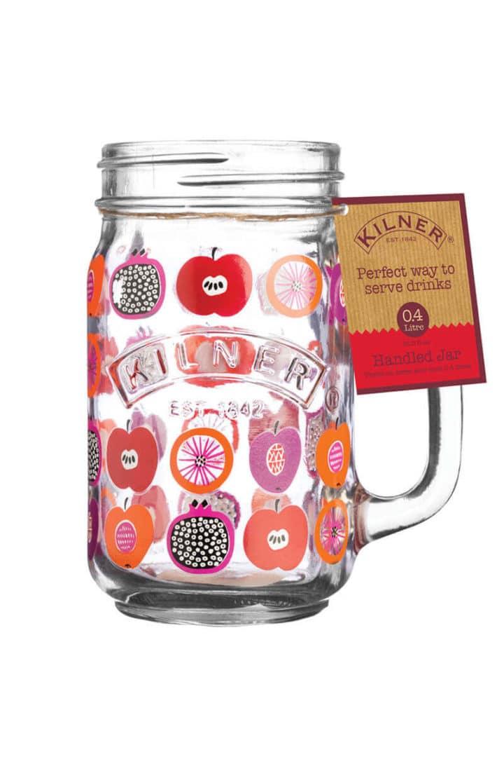 Buntes Limonadenglas Einmachglas Mason Jar mit Henkel