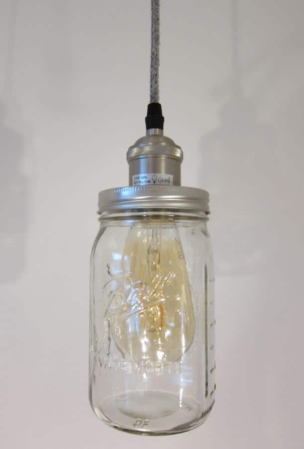 Ball Mason Vintage Lampe mit grauem Kabel