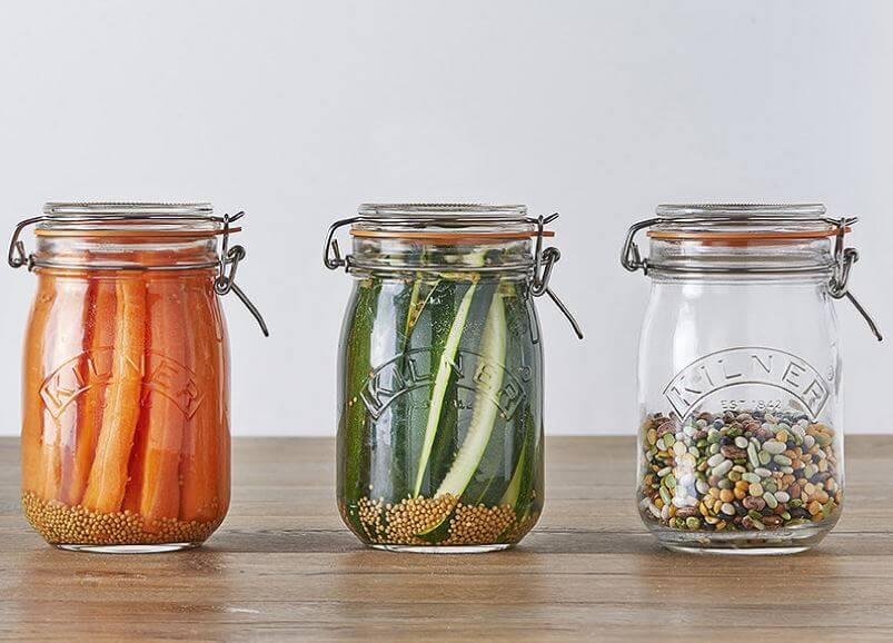 Einmachgläser Einweckgläser oder Weckgläser kaufen zum einkochen oder einmachen mit Kilner Drahtbügel Gläser