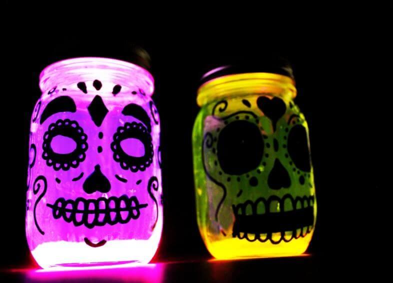 Dias Del Muertos Ball Mason Jar